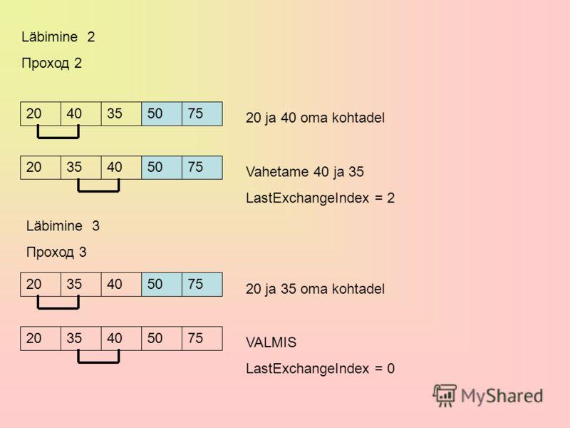 Läbimine 2 Проход 2 2020404035507575 20 ja 40 oma kohtadel 20203540507575 Vahetame 40 ja 35 LastExchangeIndex = 2 Läbimine 3 Проход 3 20203540507575 20 ja 35 oma kohtadel 20203540507575 VALMIS LastExchangeIndex = 0