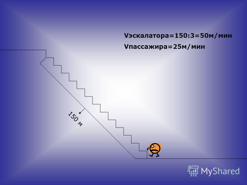 150 м Vэскалатора=150:3=50м/мин Vпассажира=25м/мин