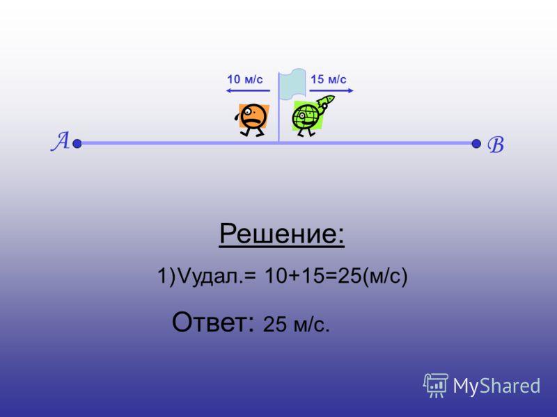 А В 15 м/с10 м/с Решение: 1)Vудал.= 10+15=25(м/с) Ответ: 25 м/с.