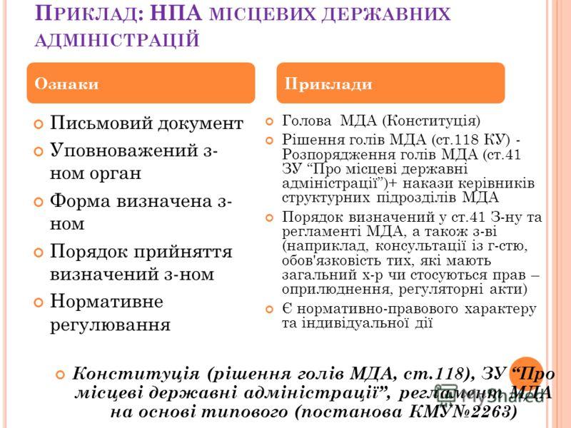 П РИКЛАД : НПА МІСЦЕВИХ ДЕРЖАВНИХ АДМІНІСТРАЦІЙ Голова МДА (Конституція) Рішення голів МДА (ст.118 КУ) - Розпорядження голів МДА (ст.41 ЗУ Про місцеві державні адміністрації)+ накази керівників структурних підрозділів МДА Порядок визначений у ст.41 З