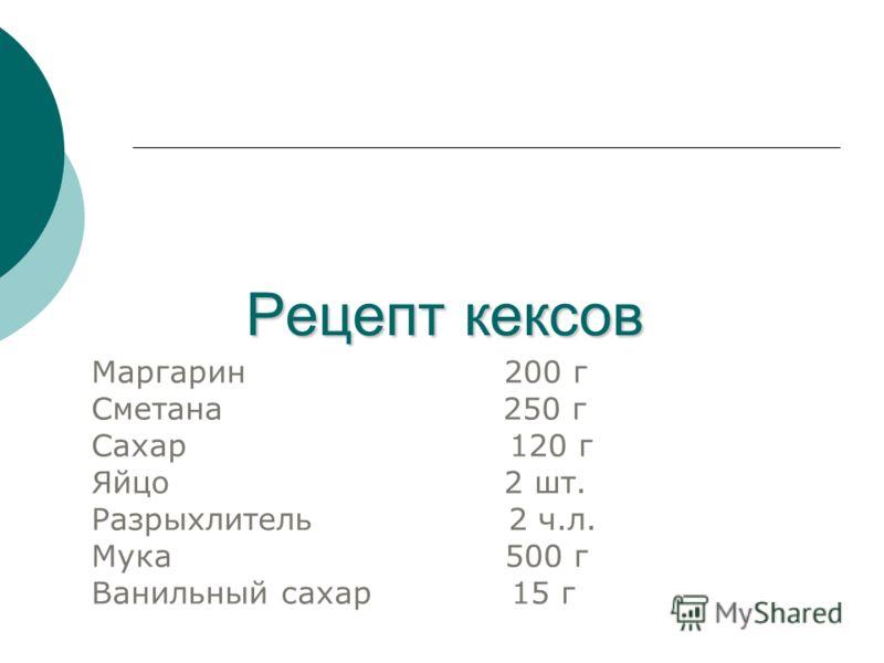 Рецепт кексов Маргарин 200 г Сметана 250 г Сахар 120 г Яйцо 2 шт. Разрыхлитель 2 ч.л. Мука 500 г Ванильный сахар 15 г