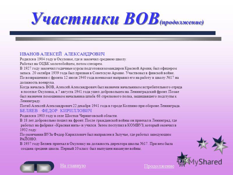 Участники ВОВ (продолжение) 14 июля 1941 года Федор Кириллович ушел на фронт.Он погиб 28 сентября 1941 года в местечке Лососинка около города Петрозаводска. ВАСИЛЬЕВ АЛЕКСАНДР АЛЕКСАНДРОВИЧ Родился 30 декабря 1925 года. Школу не закончил. Работал на
