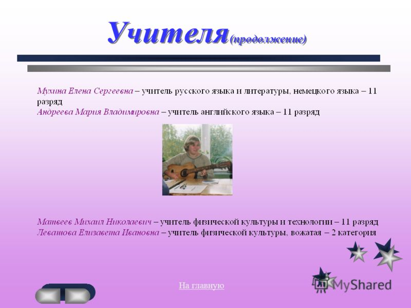 Учителя (продолжение) На главнуюПродолжение