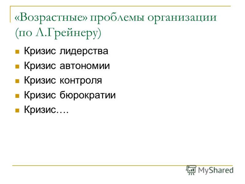 «Возрастные» проблемы организации (по Л.Грейнеру) Кризис лидерства Кризис автономии Кризис контроля Кризис бюрократии Кризис….
