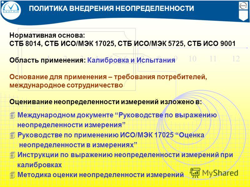 1 2 3 4 5 6 7 8 9 10 11 12 ПОЛИТИКА ВНЕДРЕНИЯ НЕОПРЕДЕЛЕННОСТИ Нормативная основа: СТБ 8014, СТБ ИСО/МЭК 17025, СТБ ИСО/МЭК 5725, СТБ ИСО 9001 Область применения: Калибровка и Испытания Основание для применения – требования потребителей, международно