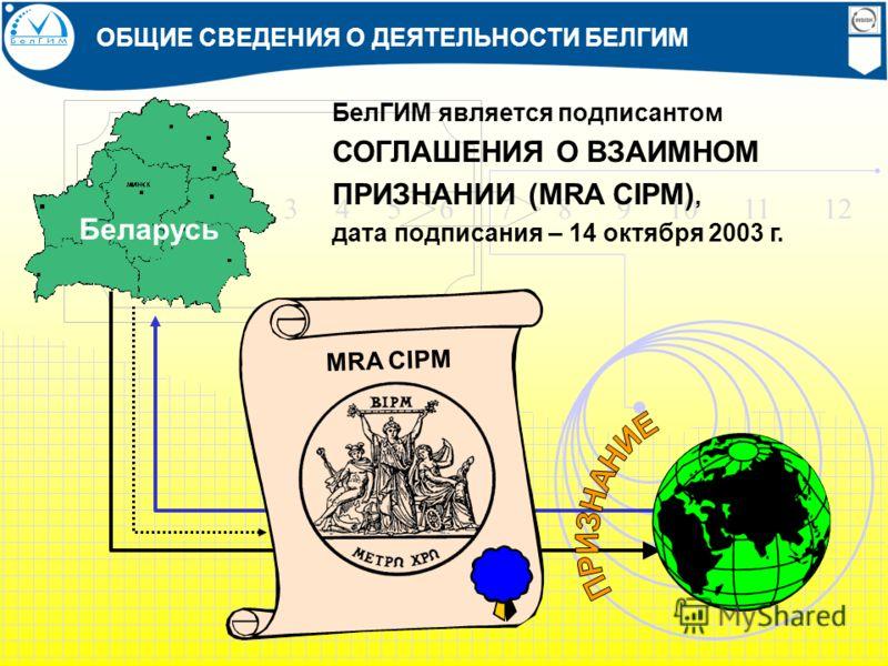 1 2 3 4 5 6 7 8 9 10 11 12 БелГИМ является подписантом СОГЛАШЕНИЯ О ВЗАИМНОМ ПРИЗНАНИИ (MRA CIPM), дата подписания – 14 октября 2003 г. Беларусь MRA CIPM ОБЩИЕ СВЕДЕНИЯ О ДЕЯТЕЛЬНОСТИ БЕЛГИМ