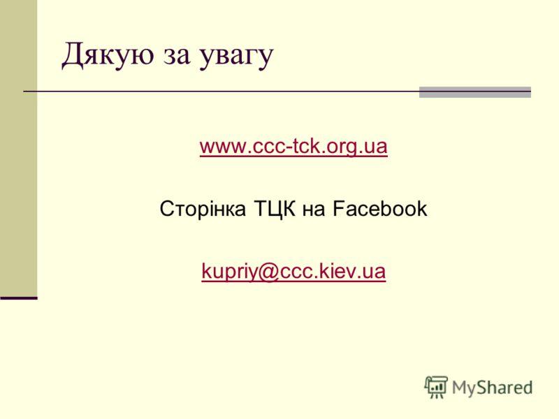 Дякую за увагу www.ccc-tck.org.ua Сторінка ТЦК на Facebook kupriy@ccc.kiev.ua