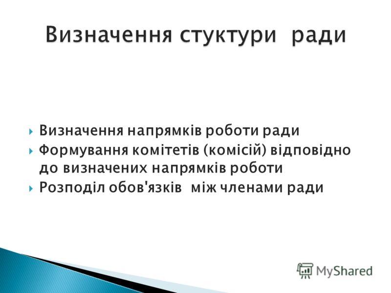 Визначення напрямків роботи ради Формування комітетів (комісій) відповідно до визначених напрямків роботи Розподіл обов'язків між членами ради