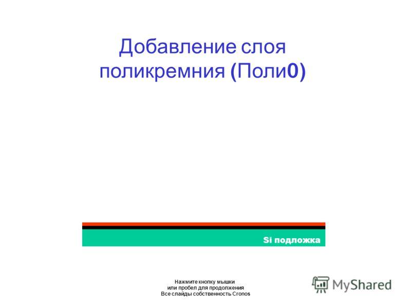 Нажмите кнопку мышки или пробел для продолжения Все слайды собственность Cronos Si подложка Добавление слоя поликремния ( Поли 0)