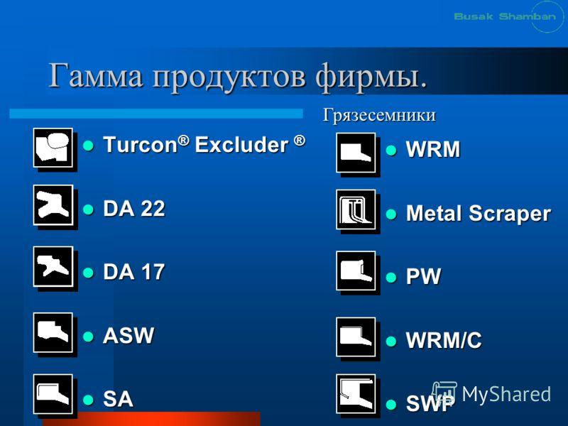 Гамма продуктов фирмы. Turcon ® Excluder ® Turcon ® Excluder ® DA 22 DA 22 DA 17 DA 17 ASW ASW SA SA WRM WRM Metal Scraper Metal Scraper PW PW WRM/C WRM/C SWP SWP Грязесемники