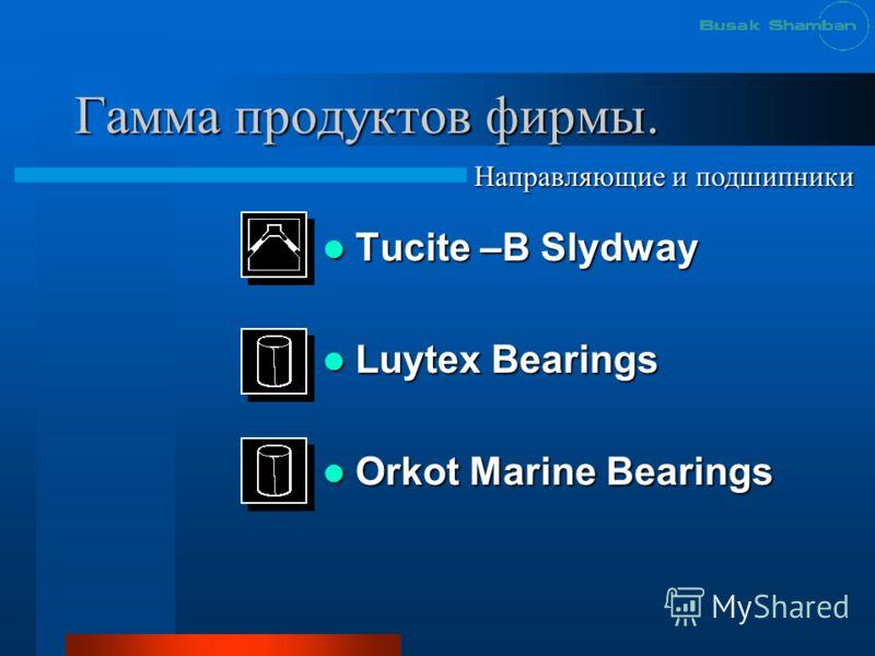 Гамма продуктов фирмы. Tucite –B Slydway Tucite –B Slydway Luytex Bearings Luytex Bearings Orkot Marine Bearings Orkot Marine Bearings Направляющие и подшипники