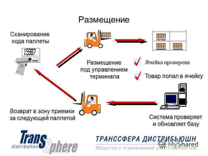Размещение Сканирование кода паллеты Размещение под управлением терминала Ячейка проверена Товар попал в ячейку Система проверяет и обновляет базу Возврат в зону приемки за следующей паллетой