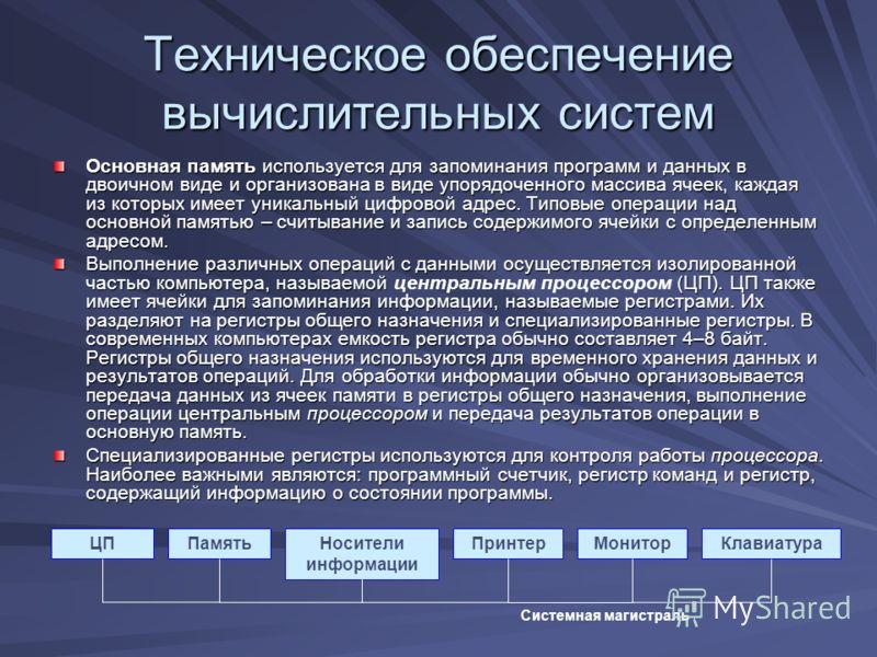 Техническое обеспечение вычислительных систем Основная память используется для запоминания программ и данных в двоичном виде и организована в виде упорядоченного массива ячеек, каждая из которых имеет уникальный цифровой адрес. Типовые операции над о
