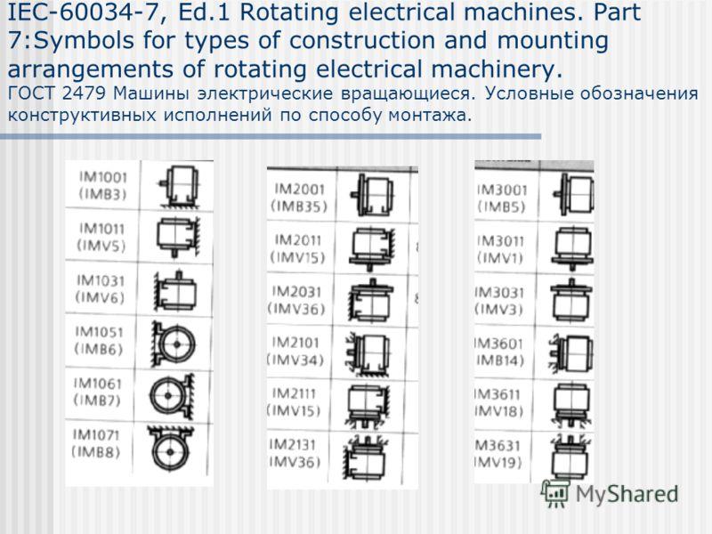 IEC-60034-7, Ed.1 Rotating electrical machines. Part 7:Symbols for types of construction and mounting arrangements of rotating electrical machinery. ГОСТ 2479 Машины электрические вращающиеся. Условные обозначения конструктивных исполнений по способу