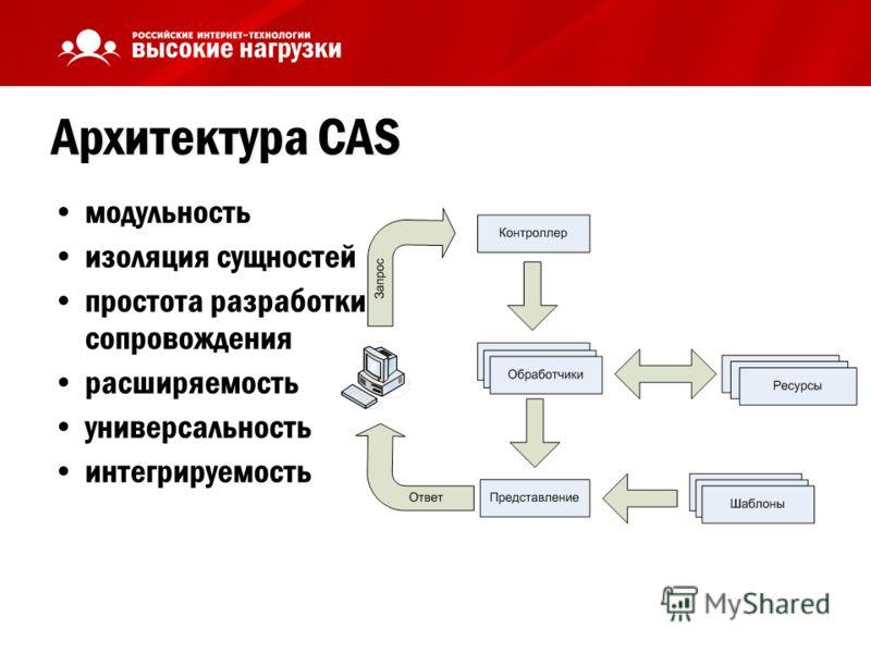 Архитектура CAS модульность изоляция сущностей простота разработки и сопровождения расширяемость универсальность интегрируемость