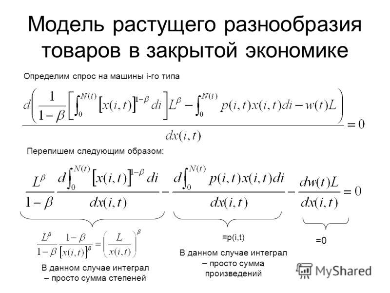 Модель растущего разнообразия товаров в закрытой экономике Определим спрос на машины i-го типа Перепишем следующим образом: =0 =p(i,t) В данном случае интеграл – просто сумма произведений В данном случае интеграл – просто сумма степеней