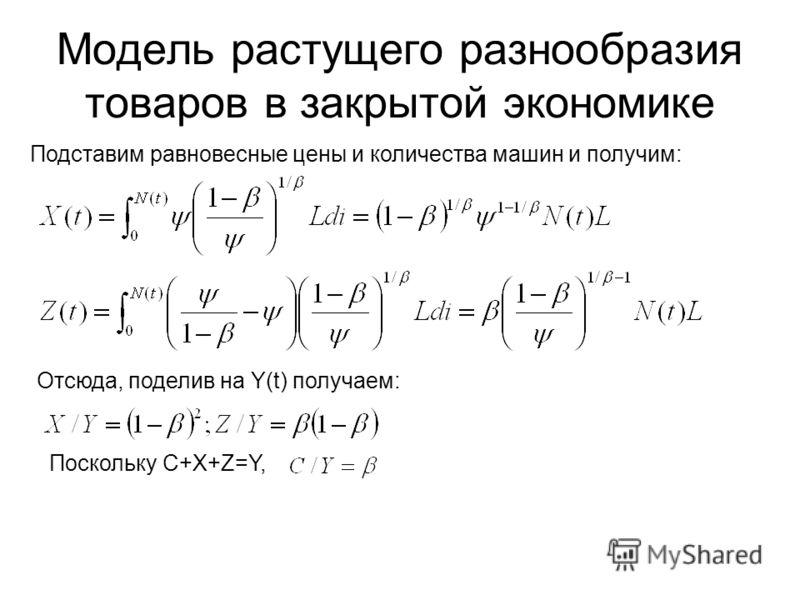 Модель растущего разнообразия товаров в закрытой экономике Подставим равновесные цены и количества машин и получим: Отсюда, поделив на Y(t) получаем: Поскольку C+X+Z=Y,