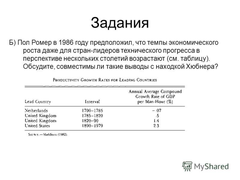Задания Б) Пол Ромер в 1986 году предположил, что темпы экономического роста даже для стран-лидеров технического прогресса в перспективе нескольких столетий возрастают (см. таблицу). Обсудите, совместимы ли такие выводы с находкой Хюбнера?