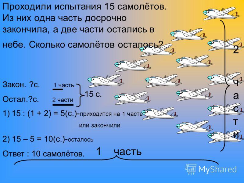 2 части2 части 1 часть Закон. ?с. 1 часть Остал.?с. 2 части 15 с. Проходили испытания 15 самолётов. Из них одна часть досрочно закончила, а две части остались в небе. Сколько самолётов осталось? 1)15 : (1 + 2) = 5(с.)- приходится на 1 часть или закон