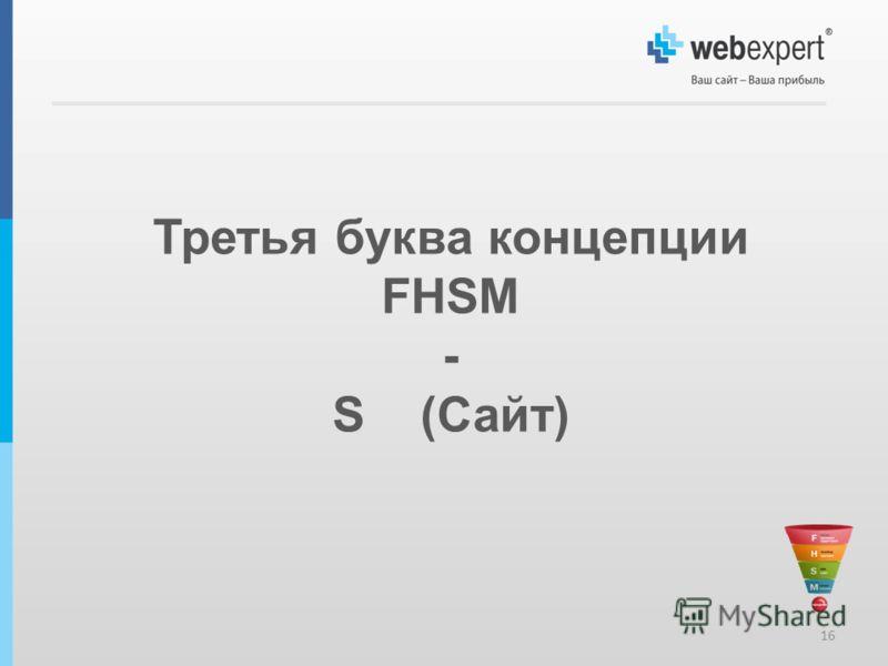 16 Третья буква концепции FHSM - S (Сайт)