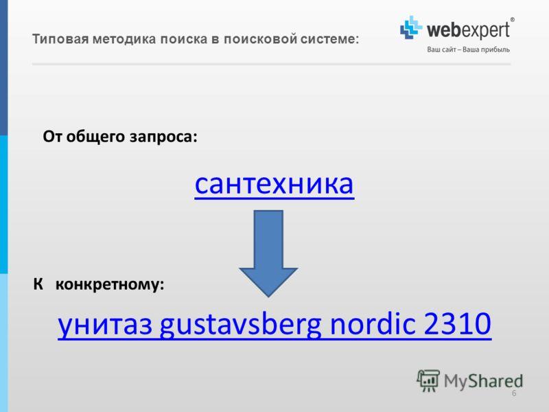 Типовая методика поиска в поисковой системе: 6 От общего запроса: сантехника К конкретному: унитаз gustavsberg nordic 2310