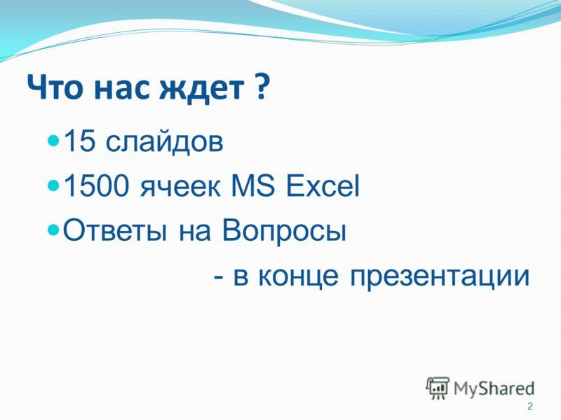 Что нас ждет ? 15 слайдов 1500 ячеек MS Excel Ответы на Вопросы - в конце презентации 2