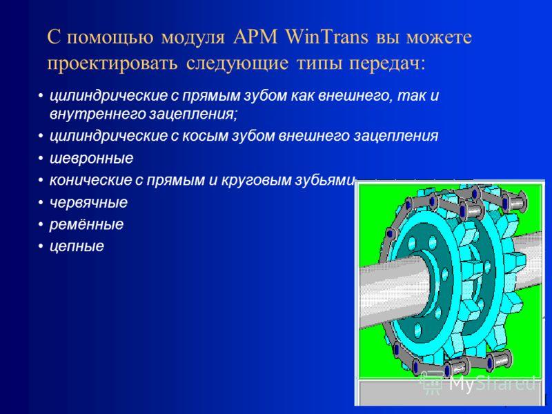 НТЦ АПМ С помощью модуля APM WinTrans вы можете проектировать следующие типы передач: цилиндрические с прямым зубом как внешнего, так и внутреннего зацепления; цилиндрические с косым зубом внешнего зацепления шевронные конические с прямым и круговым