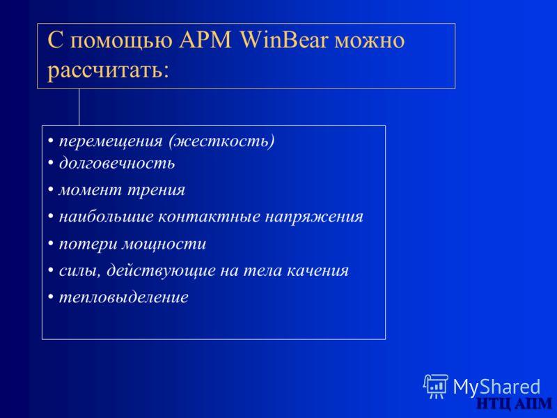 НТЦ АПМ С помощью АPМ WinBear можно рассчитать: перемещения (жесткость) долговечность момент трения наибольшие контактные напряжения потери мощности силы, действующие на тела качения тепловыделение