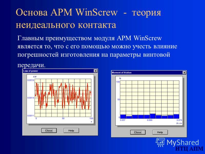 НТЦ АПМ Основа APM WinScrew - теория неидеального контакта Главным преимуществом модуля APM WinScrew является то, что с его помощью можно учесть влияние погрешностей изготовления на параметры винтовой передачи.