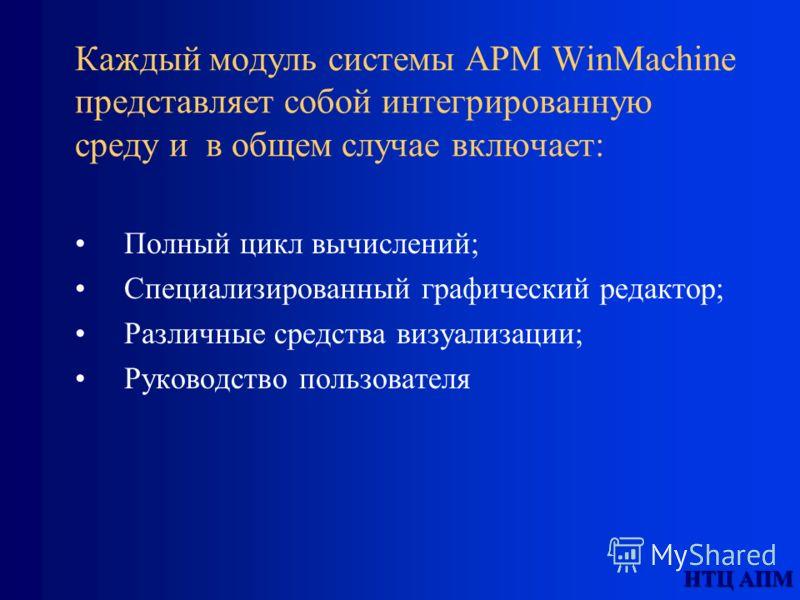 НТЦ АПМ Каждый модуль системы APM WinMachine представляет собой интегрированную среду и в общем случае включает: Полный цикл вычислений; Специализированный графический редактор; Различные средства визуализации; Руководство пользователя