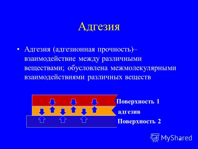 6 Адгезия Адгезия (адгезионная прочность)– взаимодействие между различными веществами; обусловлена межмолекулярными взаимодействиями различных веществ адгезив Поверхность 1 Поверхность 2