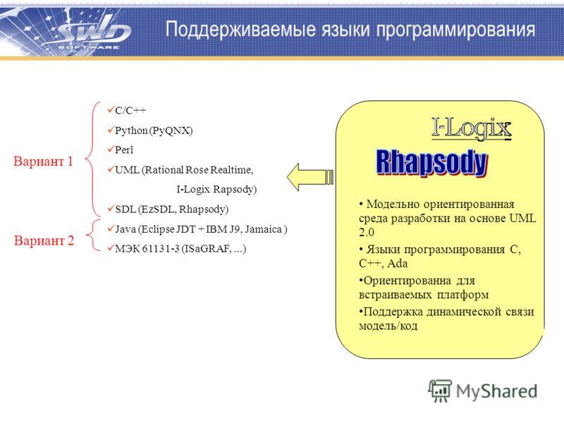 Поддерживаемые языки программирования С/С++ Python (PyQNX) Perl UML (Rational Rose Realtime, I-Logix Rapsody) SDL (EzSDL, Rhapsody) Java (Eclipse JDT + IBM J9, Jamaica ) МЭК 61131-3 (ISaGRAF,...) Вариант 1 Вариант 2 Модельно ориентированная среда раз