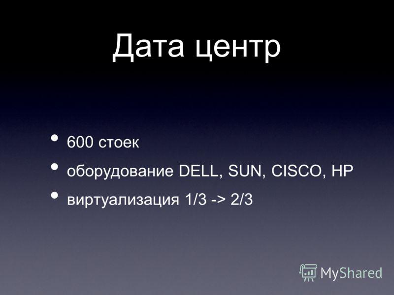 Дата центр 600 стоек оборудование DELL, SUN, CISCO, HP виртуализация 1/3 -> 2/3