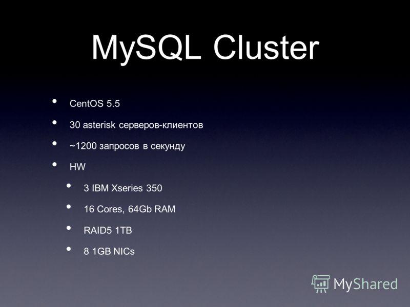 MySQL Cluster CentOS 5.5 30 asterisk серверов-клиентов ~1200 запросов в секунду HW 3 IBM Xseries 350 16 Cores, 64Gb RAM RAID5 1TB 8 1GB NICs