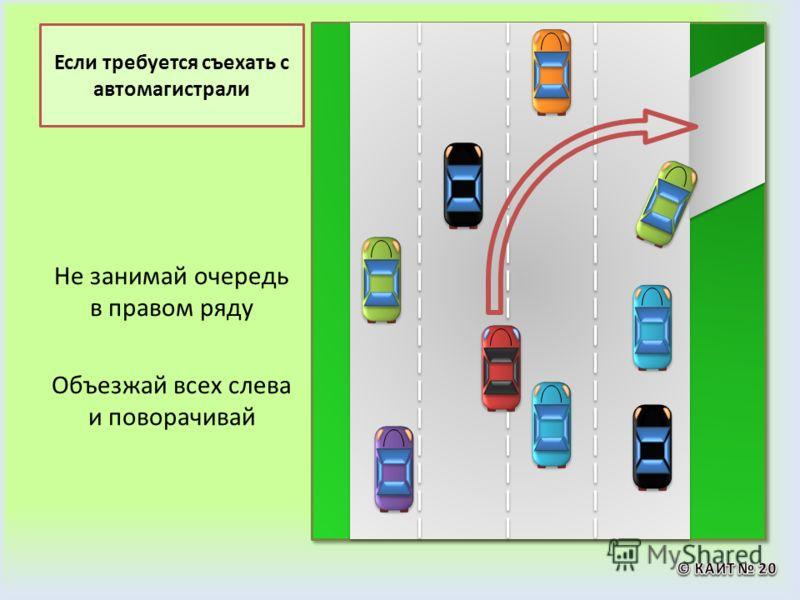 Если требуется съехать с автомагистрали Не занимай очередь в правом ряду Объезжай всех слева и поворачивай