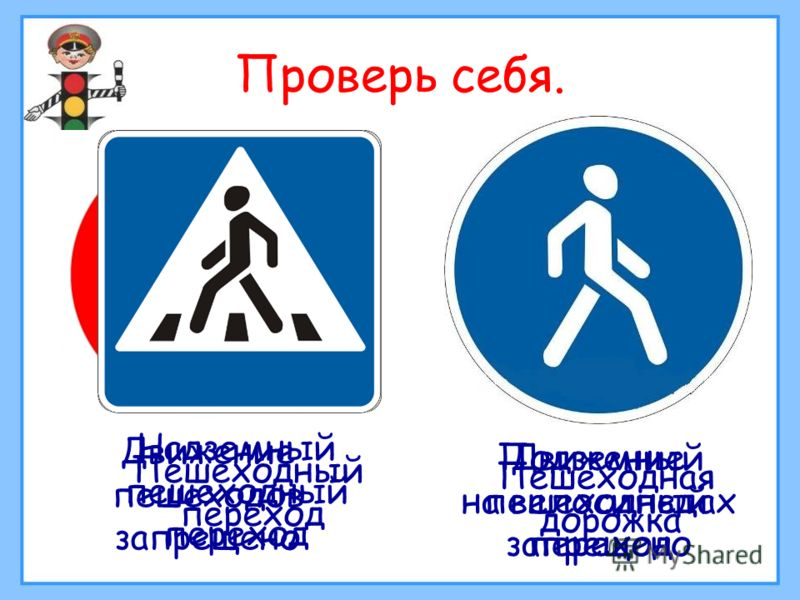 Проверь себя. Движение пешеходов запрещено Движение на велосипедах запрещено Пешеходный переход Надземный пешеходный переход Подземный пешеходный переход Пешеходная дорожка