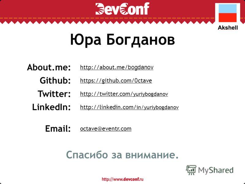 Юра Богданов https://github.com/ 0 ctave Github: http://twitter.com/ yuriybogdanov Twitter: http://about.me/ bogdanov About.me: octave@eventr.com Email: http://linkedin.com/ in/yuriybogdanov LinkedIn: Спасибо за внимание.