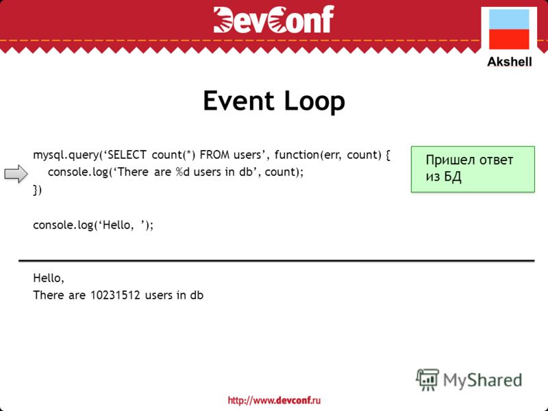Event Loop mysql.query(SELECT count(*) FROM users, function(err, count) { console.log(There are %d users in db, count); }) console.log(Hello, ); Hello, There are 10231512 users in db Пришел ответ из БД