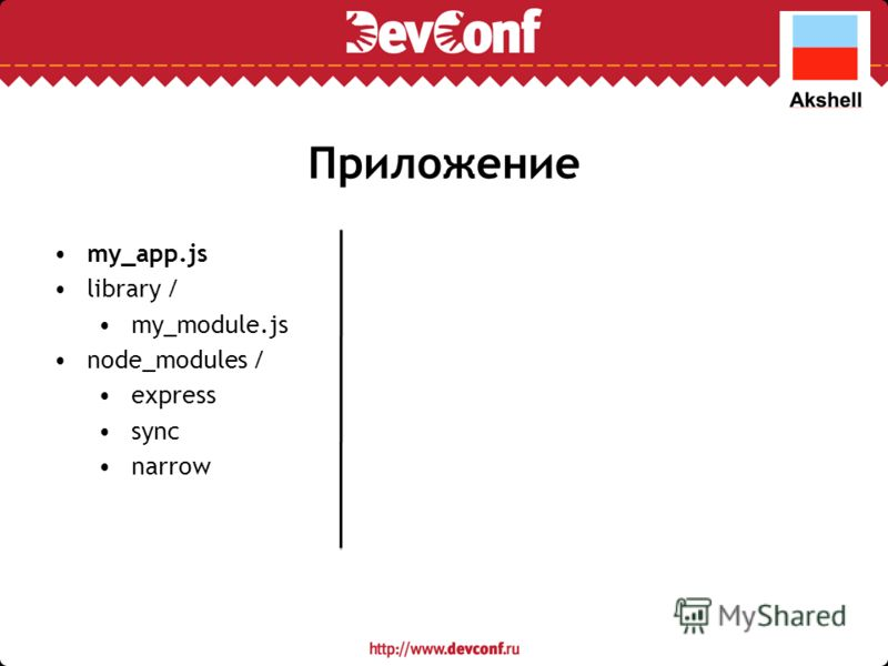 Приложение my_app.js library / my_module.js node_modules / express sync narrow