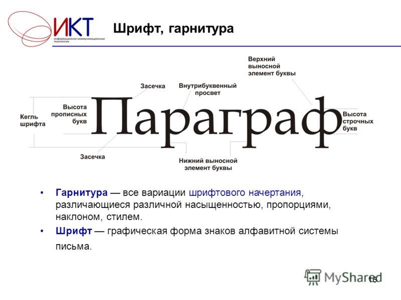16 Шрифт, гарнитура Гарнитура все вариации шрифтового начертания, различающиеся различной насыщенностью, пропорциями, наклоном, стилем. Шрифт графическая форма знаков алфавитной системы письма.