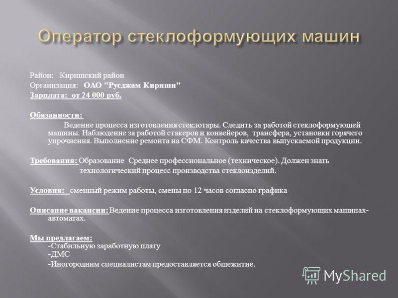 Район : Киришский район Организация : ОАО
