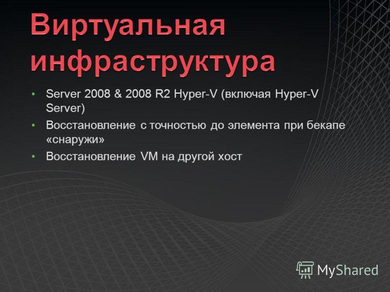 Server 2008 & 2008 R2 Hyper-V (включая Hyper-V Server) Восстановление с точностью до элемента при бекапе «снаружи» Восстановление VM на другой хост