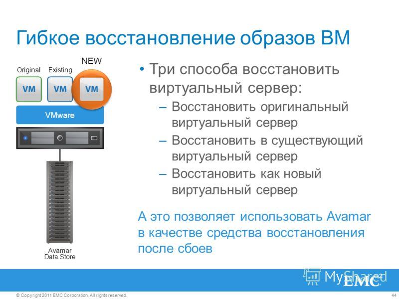44© Copyright 2011 EMC Corporation. All rights reserved. Гибкое восстановление образов ВМ Три способа восстановить виртуальный сервер: –Восстановить оригинальный виртуальный сервер –Восстановить в существующий виртуальный сервер –Восстановить как нов
