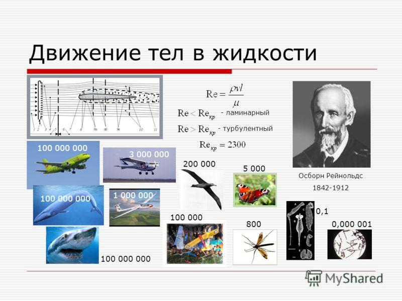 Движение тел в жидкости Осборн Рейнольдс 1842-1912 - ламинарный - турбулентный 100 000 000 3 000 000 1 000 000 100 000 200 000 5 000 800 100 000 000 0,1 0,000 001 100 000 000
