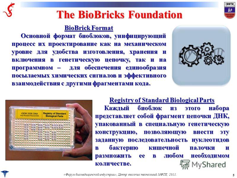 «Форум биомедицинской индустрии», Центр высоких технологий МФТИ, 2011. 5 The BioBricks Foundation Registry of Standard Biological Parts Каждый биоблок из этого набора представляет собой фрагмент цепочки ДНК, упакованный в специальную генетическую кон