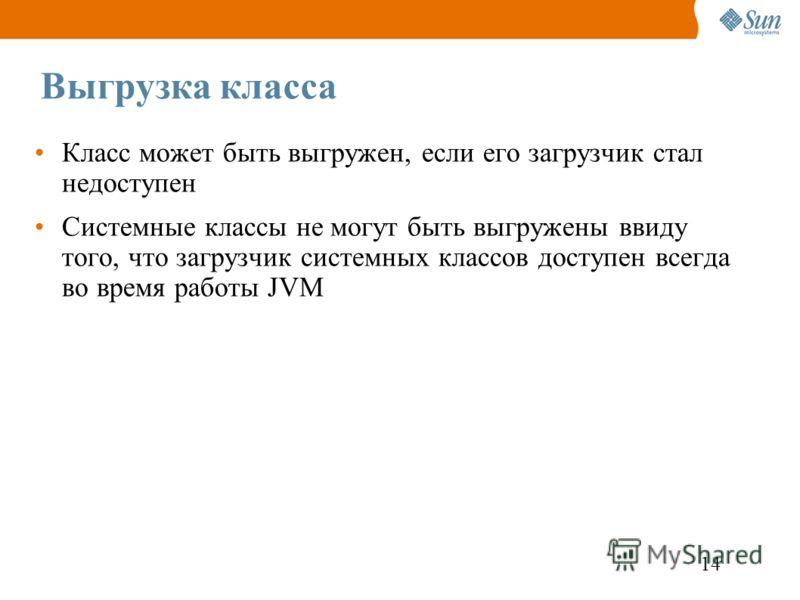 14 Выгрузка класса Класс может быть выгружен, если его загрузчик стал недоступен Системные классы не могут быть выгружены ввиду того, что загрузчик системных классов доступен всегда во время работы JVM