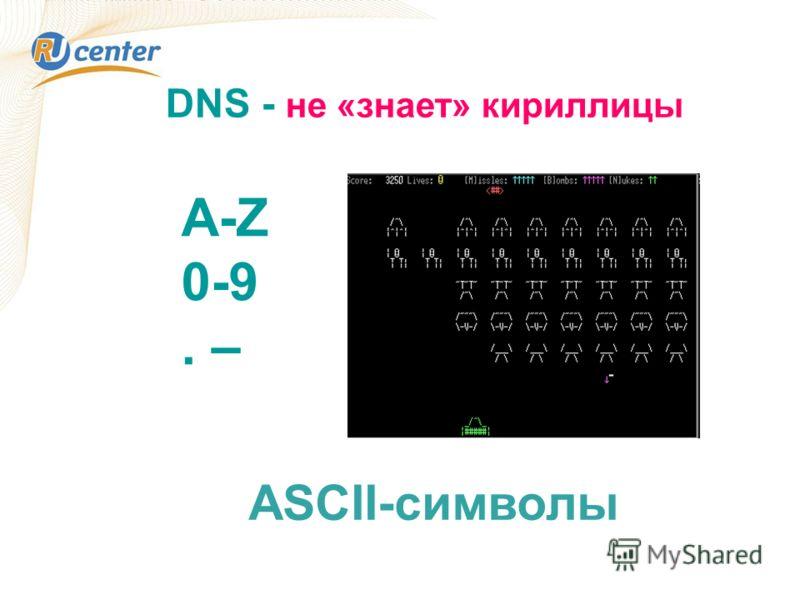 DNS - не «знает» кириллицы A-Z 0-9. – ASCII-символы