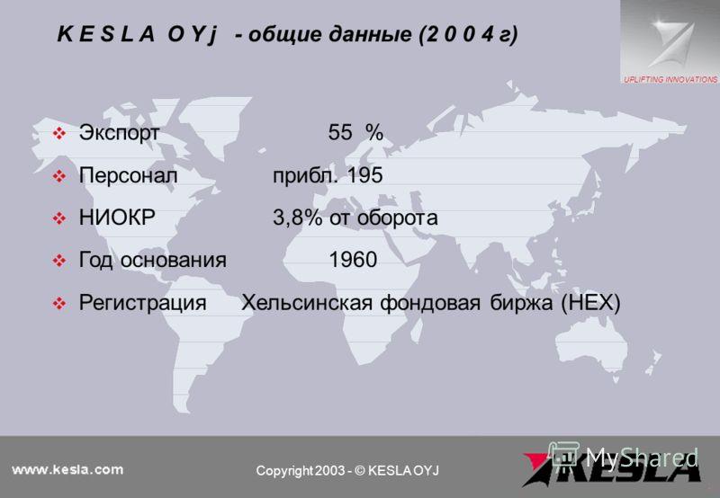 Экспорт55 % Персоналприбл. 195 НИОКР3,8% от оборота Год основания1960 Регистрация Хельсинская фондовая биржа (HEX) K E S L A O Y j - общие данные (2 0 0 4 г) Copyright 2003 - © KESLA OYJ UPLIFTING INNOVATIONS