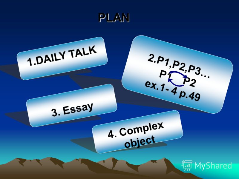 PLAN 2.P1,P2,P3… P1 P2 ex.1- 4 p.49 1.DAILY TALK 4. Complex object 3. Essay
