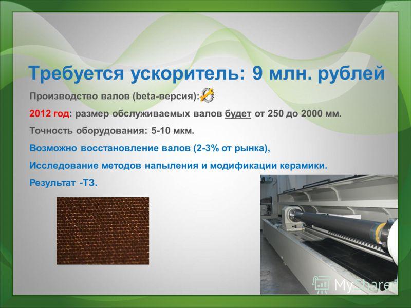 Требуется ускоритель: 9 млн. рублей Производство валов (beta-версия): 2012 год: размер обслуживаемых валов будет от 250 до 2000 мм. Точность оборудования: 5-10 мкм. Возможно восстановление валов (2-3% от рынка), Исследование методов напыления и модиф